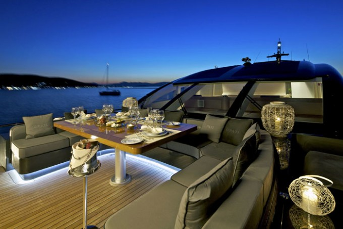 Yacht OPATI -  Foredeck Dining at Night-680